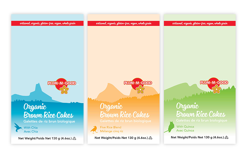 Van Rice Products—Landscape illustrations of local peaks for premium packaging line